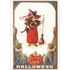 halloween - ansichtkaart - heks met bezemsteel
