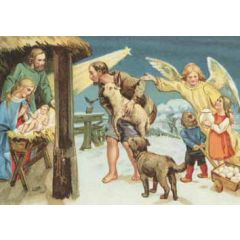 ansichtkaart kerst - kerststal