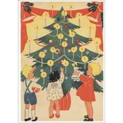 ansichtkaart kerst - kinderen bij kerstboom