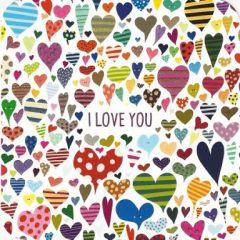 vierkante ansichtkaart met envelop lali - i love you - hartjes