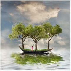 vierkante ansichtkaart met envelop - maïlo - boot en bomen