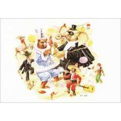 ansichtkaart - gh grijseels-visser - olifant en beer vieren feest