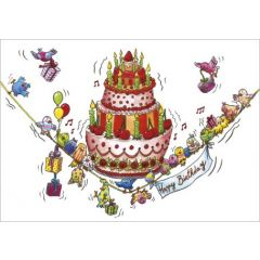 ansichtkaart correspondances - happy birthday - taart met vogels