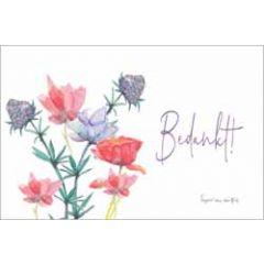 ansichtkaart fantasiebeestjes - bedankt - bloemen