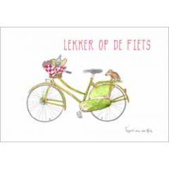 ansichtkaart fantasiebeestjes - lekker op de fiets