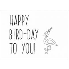 ansichtkaart - happy bird-day to you! - flamingo