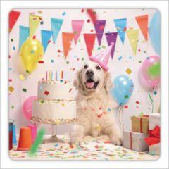 vierkante ansichtkaart met envelop - hond viert feest