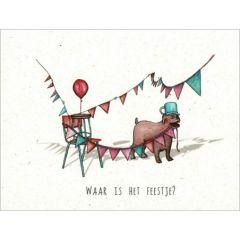 ansichtkaart katja kaduk - waar is het feestje?