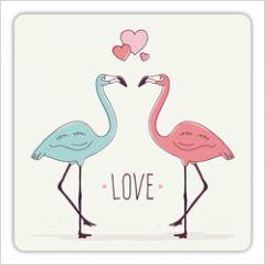 vierkante ansichtkaart met envelop - love - flamingo