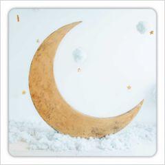 vierkante ansichtkaart met envelop - maan en sterren