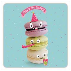 vierkante ansichtkaart met envelop - happy birthday - macarons
