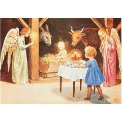 ansichtkaart elsa beskow - kerststal