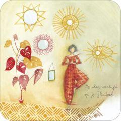 vierkante ansichtkaart met envelop - anne-sophie rutsaert - op slag verliefd op je glimlach..