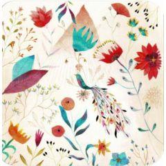 vierkante ansichtkaart met envelop - izou - magic bird