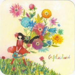 vierkante ansichtkaart met envelop - mila -gefeliciteerd - bloemen