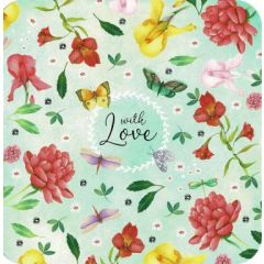 vierkante ansichtkaart met envelop - mila - with love