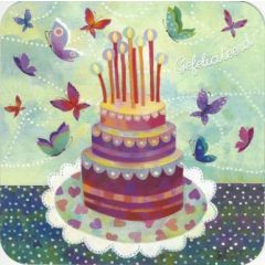 vierkante ansichtkaart met envelop - aurélie blanz -gefeliciteerd - taart