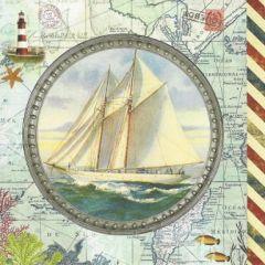 ansichtkaart met envelop gwenaëlle trolez - zeilboot