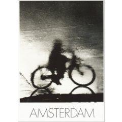 ansichtkaart - paul huf - amsterdam - fiets in regen