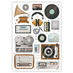 ansichtkaart quire - muziek radio cassettebandje grammofoon | muller wenskaarten