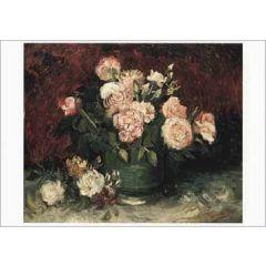ansichtkaart - rozen en pioenrozen van vincent van gogh