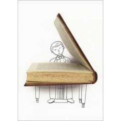 ansichtkaart cintascotch - a writer is like a pianist - boek vleugel