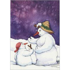 ansichtkaart capucine mazille - sneeuwbal - sneeuwpop en katapult