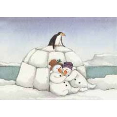 ansichtkaart capucine mazille - gezellig koud - sneeuwpoppen en iglo