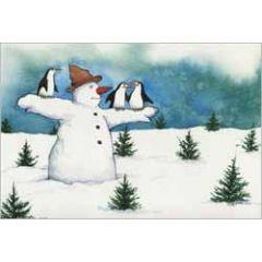 ansichtkaart capucine mazille - vogelverschrikker - sneeuwpop en pinguins