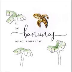 wenskaart second nature - go bananas on your birthday - palmbomen