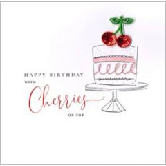 wenskaart second nature - happy birthday with cherries on top - taart