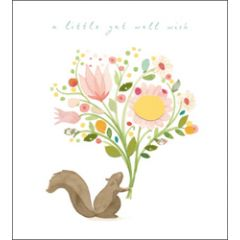 wenskaart - woodmansterne - little get well wish - eekhoorn