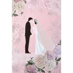 trouwkaart - bruidspaar en rozen