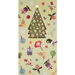 kerstkaart - cadeau envelop - kerstboom en uiltjes