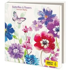 10 wenskaarten voor amnesty international - bloemen en vlinders
