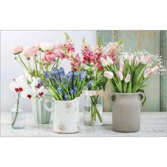 wenskaart - voorjaarsbloemen in vazen