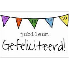 10 jaar - jubileum wenskaart - gefeliciteerd - vlaggetjes