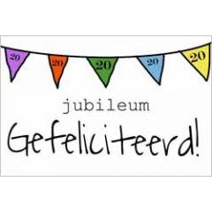 20 jaar - jubileum wenskaart - gefeliciteerd - vlaggetjes
