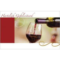 cadeau envelop - hartelijk gefeliciteerd - wijn