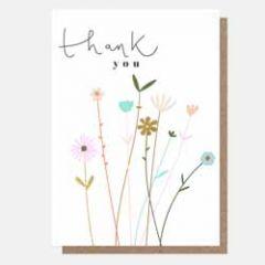 wenskaart caroline gardner - thank you - bloemen