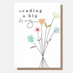 wenskaart caroline gardner - sending a big hug - bloemen
