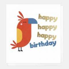 wenskaart caroline gardner - happy happy happy birthday - papegaai