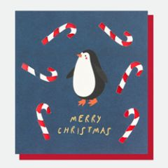 kerstkaart caroline gardner - merry christmas - pinguin