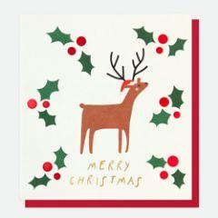 kerstkaart caroline gardner - merry christmas - hert met hulst