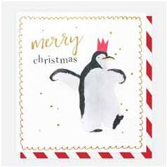8 luxe kerstkaarten caroline gardner - merry christmas - pinguin   muller wenskaarten