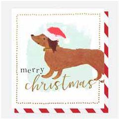8 luxe kerstkaarten caroline gardner - merry christmas - hond teckel   muller wenskaarten