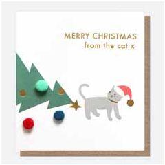 kerstkaart caroline gardner mini-poms - merry christmas from the cat x   muller wenskaarten