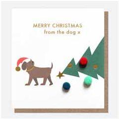 kerstkaart caroline gardner mini-poms - merry christmas from the dog x   muller wenskaarten