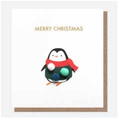 kerstkaart caroline gardner mini-poms - merry christmas - pinguin   muller wenskaarten