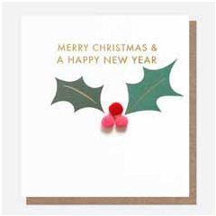 kerstkaart caroline gardner mini-poms - merry christmas & a happy new year - hulst   muller wenskaarten